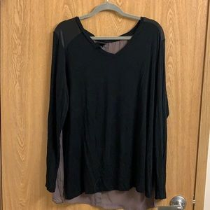 Black and taupe blouse w/ sheer back